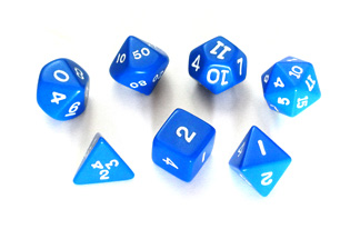 7 DICE WITH DIFFERENT NUMBER OF SIDES TUBE OF 7 ASSORTED BLUE OPAQUE DICE
