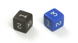 Pack of 4 - each different colour - numbered 1 to 6 New Wooden Dice